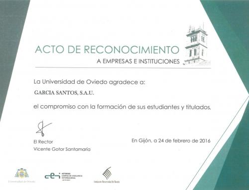 Agradecimiento de la Universidad de Oviedo